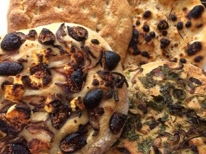Focaccia 3 ways: truffle sea salt; fresh herbs; fig, goat cheese and caramelized onions. There is also a pizza bianca thrown in there (made from leftover pizza dough)