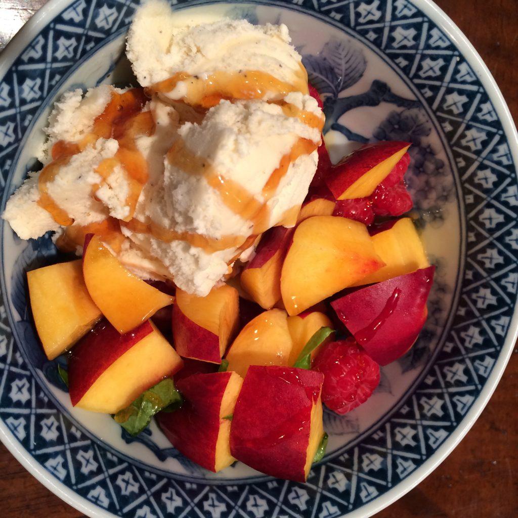 Dessert: Nectarines, Raspberries, Basil, Honey and Vanilla Ice Cream