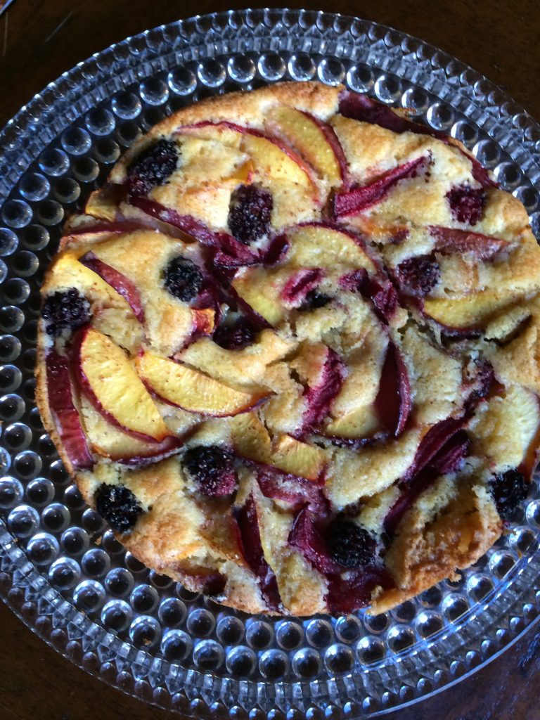 Golden Nectarine Cake (with plums and blackberries added)
