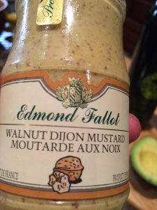 I found this Walnut mustard in recent trip to an Italian market (which is odd since the mustard is from France!!)  It gives depth to walnut-vinaigrettes. Tasty!