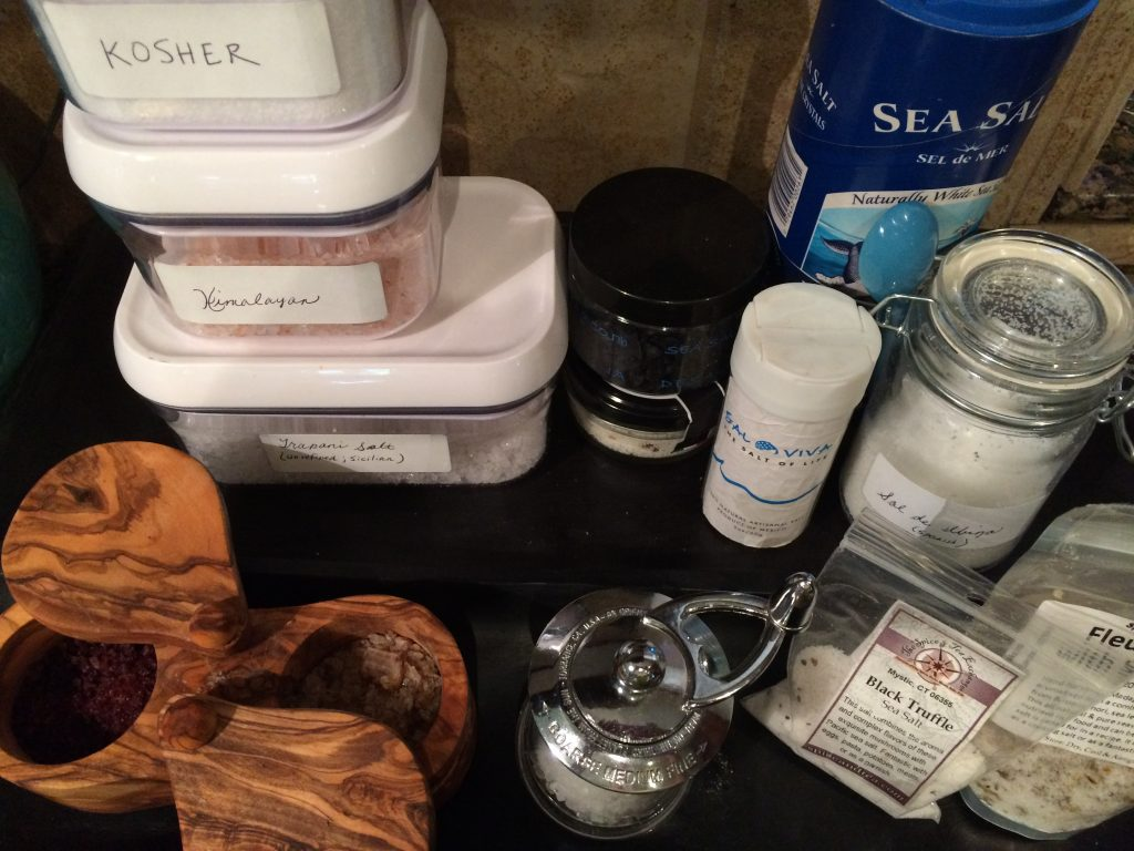 The various salts I keep on my counter for perking up my favorite foods