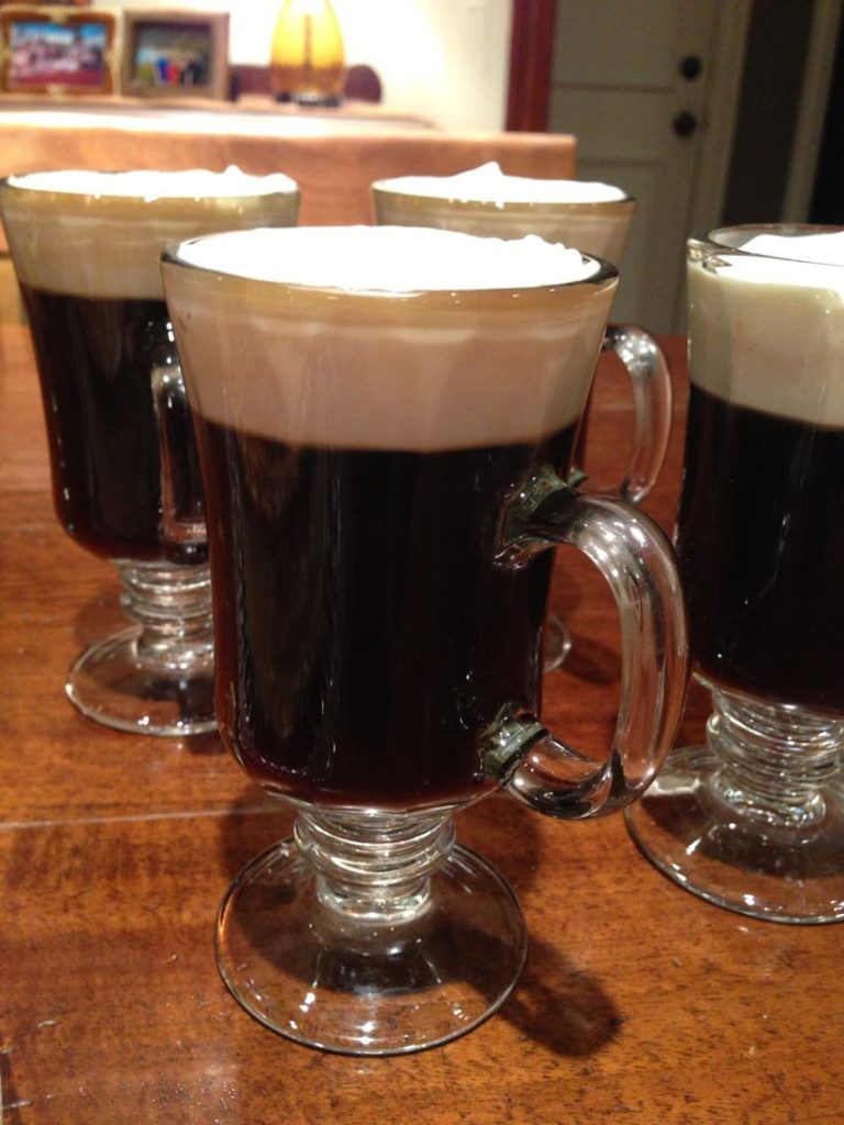 Irish Coffee to go with Stout Cheddar-Cheese Cheesecake